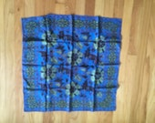 Scarf, Vintage abstract 60s silk scarf, mens pocket square