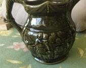 Ceramic Pitcher, Vintage Arthur Wood Green Lion pattern, Gothic Pattern, Spooky patterned pitcher