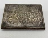 cigarette case, vintage silver over brass, engraved with maker mark