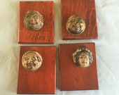 Japanese plaques, Japanese Gods, graphic heads, god boards, wall hanging, Vintage Japan