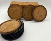 Coasters/Beverage coasters/Vintage coaster lot/metal and wood/coasters from 60s/10 total