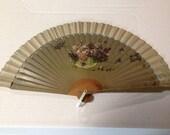 Fan, Painted fan, vintage pocket fan