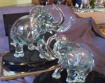 Elephants Large Glass Set of 2 Thick glass only Hollow place in Stomach , Very Detailed Raised Eye Blue with Whites , Check Description