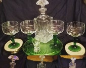 Vintage Waterford Lismore Diamond Square Crystal Decanter Mushroom stopper, comes with Four Margarita Cactus Glasses, Plus shot jigger glass