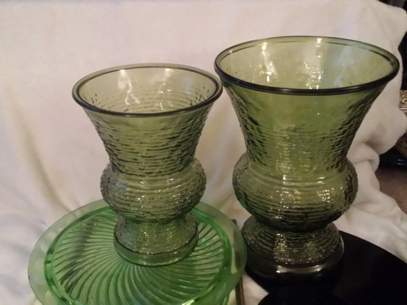 Napco Ridged Green Glass Vase Soreno Green Vintage Vase Etsy