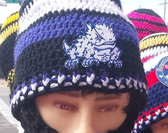 TCU Horned Frogs Texas Christian University Horned Frogs Bearded Beanie,Hook and Loop Fasteners  Both sides Beard & Beanie 2 Remove Beard