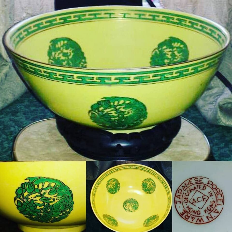 Antique Japanese Porcelain WareBowl, Decorated In Hong Kong Bowl Yellow,  ACF Large Yellow Bowl Gold Accents, Wood Carved Base