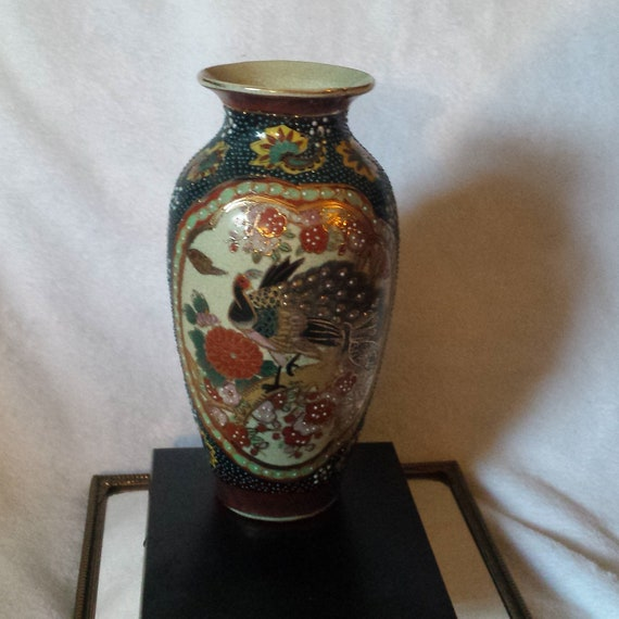 Vintage Oriental Vase Peacock Moriage Hand Painted 8 Etsy