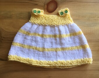 Baby Sundress, Knit Baby Dress, Baby Girl Dress, Yellow Baby Dress