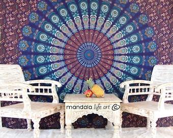 Boho Tapestry Wall Hanging, Mandala Wall Throw, Fabric Wall Tapestry Room Decor, Gypsy Tapestry