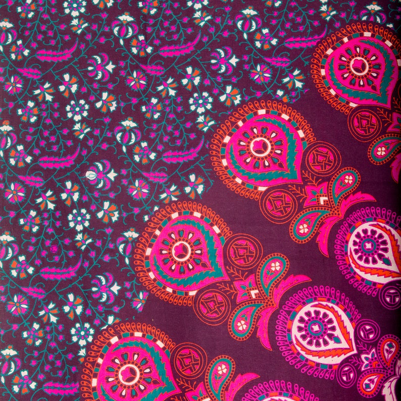 Bohemian Mandala Hippy Gypsy Curtains in Purple and Pink