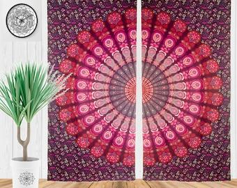 Bohemian Hippie Curtains, Bohemian Window Treatment, Mandala Tapestry Dorm Decor, Boho Curtain