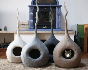 Cat Bed Cave, Cat Lover Gift, Cat bed furniture, Cat cave Felt, Modern cat bed, Pet Bedding, Cat Beds Wool, Cat Cave Drop, Handmade in Italy