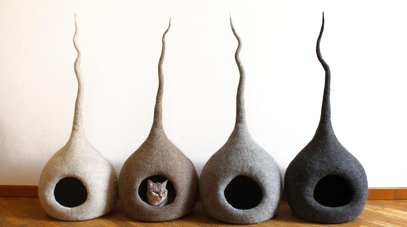 Cat Cave Bed Cat Cave Felt Wool Cat Lover Gift Modern cat image 0