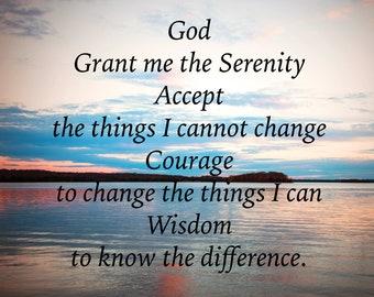 Serenity Prayer, inspirational words, encouragement, God, Serenity prayer, sunset, lake reflections, 3Butterflies, photography