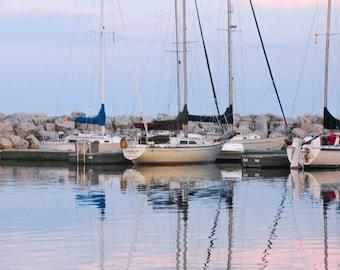 Harbor Sunset I, 3Butterflies Photography,photos, photography, Lake Michigan, Wisconsin, water, sunset, sailboats, harbor, breakwater