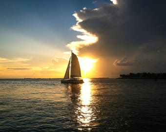 Sailing in Key West, photos, photography, artwork, water, Key West, Saliboat, sunset, Water reflection, horizon, 3Butterflies Photography