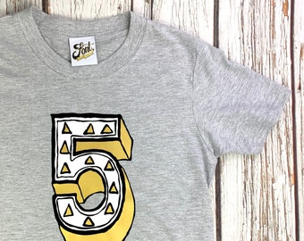 Number Five T-Shirt- kids number 5 tshirt- 5th Birthday outfit for boy or girl- Any size! Fab Five! Age 5 Geometric triangle