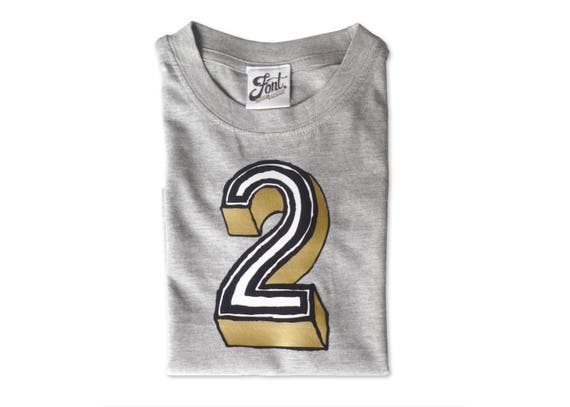 Number 2 T Shirt Kids 2nd Birthday Boy Girl Childrens