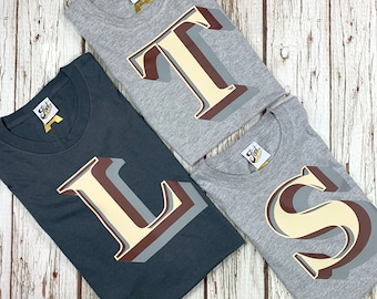 Father's day matching T-Shirts! Dad/son gift Monogram letter Tees for dad and child. Father daughter shirts.  Stirling Shadow Font