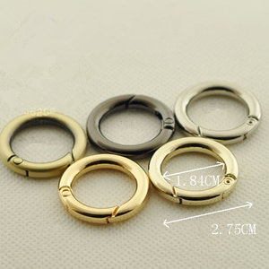 4pcs Inner 18mm Handbag Metal Accessories Coil Opening Snap Clip Springs Buckle Gate O Spring Ring Round Split Key Rings Bag Findings Supply