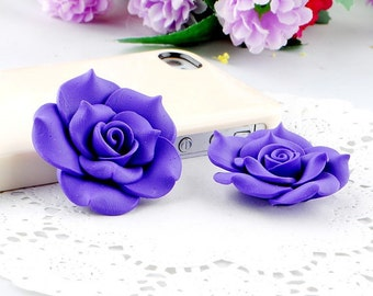 2 pcs New Lovely Deep Purple Flowers Kawaii Flatback Cabochon Decoden Accessories/DIY Materials Cell Phone Case Deco Den/Bling Embellishment