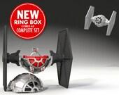 Star Fighter Ring Box - proposal ring box, engagement ring box, spaceship, sci-fi wars, ring case, wedding, marriage, bridal, geekery, geek