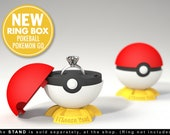 Pokeball Pokemon Go Ring Box - proposal, engagement ring box, geek ring box, gamer, wedding, geekery, marriage, ring case, stand