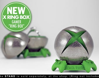 X Ring BOX - Engagement Ring Box for a Gamer Proposal or Wedding - Geek Jewelry and Ring Bearer Box for Xbox Playstation and Video Game Fans