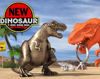 T-Rex Dinosaur Cool Ring Box for Geek Engagement or Wedding - Case or Display for Nerd Marriage Proposal - Dino Jurassic Park Room Decor