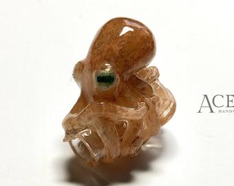 Natural Orange Hyperrealistic Baby Octopus Bottle Pendant/Charm #5 - ocean fish sea creature handmade ooak