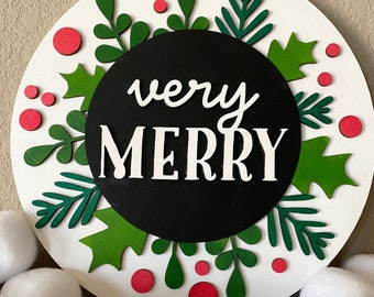Very Merry Christmas Sign, Holiday Decor Wood Sign, Red White Green Christmas, Wall Decor Living Room, Christmas Gifts for Women, Modern