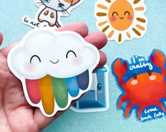 Cloud Rainbow Waterproof Stickers, Happy Cloud, Hydroflask Stickers, Laptop Stickers, Planner Accessory, Water Bottle Stickers
