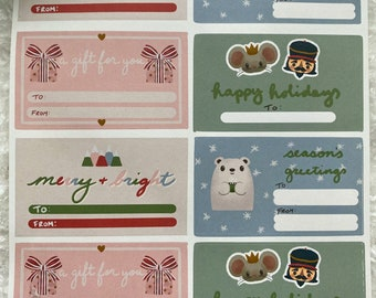 Christmas Gift Tag Stickers, Holiday Gift Tags, Gift Label Stickers, Christmas Gift for Women, To and From Stickers Labels, Kawaii Sticker