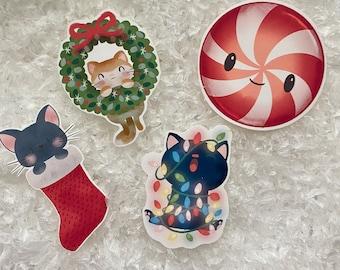 Kawaii Kitty Holiday Waterproof Stickers, Christmas Tumbler, Holiday Tumbler, Laptop Stickers, Planner Accessory, Water Bottle Stickers