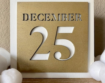 December 25 Christmas Day Sign, Holiday Decor Wood Sign, Candy Christmas, Decor Living Room, Christmas Gifts for Women, Modern, Mantle Decor
