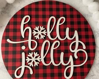 Holly Jolly Christmas Wood Sign, Christmas Decorations for the Home, Disneyworld Gift, Housewarming Gift First Home, Buffalo Plaid Decor