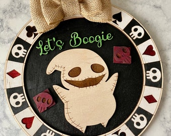 Ready to Ship Oogieboogie Decor, Nightmare Before Christmas Decor, Halloween Decorations, Christmas Sign, Home Decor Gift, Gift for Her