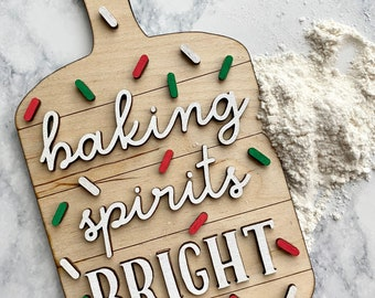 Christmas Charcuterie Board, Kitchen Decor Counter, Baking Gifts, Holiday Baking, Christmas Decor for Tier Tray, Christmas Gifts for Women