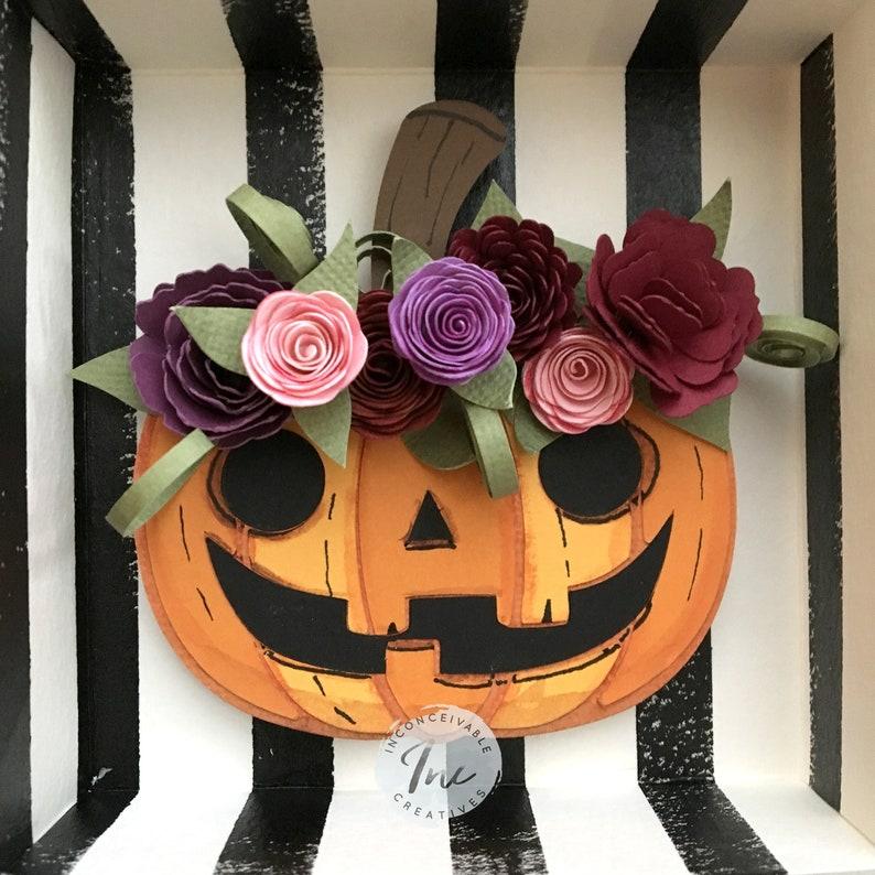 Fall Pumpkin Flower Crown Framed 5x5 Pumpkin Decor Halloween image 0