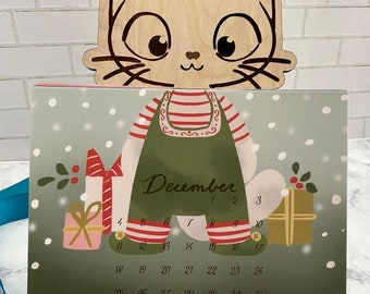 Desk Calendar 2022 with Wood Stand, Monthly Calendar 2022, Gift for Cat Lover, Cat Lady Gifts, Christmas Gifts for Coworker, Gifts for Women