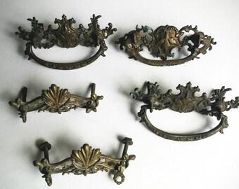 Drawer Handles - Vintage Drawer Pulls - Brass Drawer Pulls - Cabinet Hardware - Restoration Hardware - Antique Hardware - Vintage Hardware