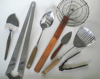 Kitchen Utensils - Vintage Cookware - Kitchen Tools - Cheese Cutter - Vintage Utensils - Kitchen Gadgets - Wooden Clothespins - German Tools