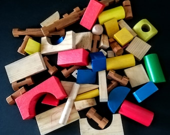 Mixed wooden blocks for playing or crafting