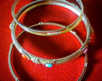 Bangles - Bangle Bracelets - Colorful Bracelet - Crystal Bracelet - Mid Century Jewelry - Vintage Bracelet - Bracelets with Beads