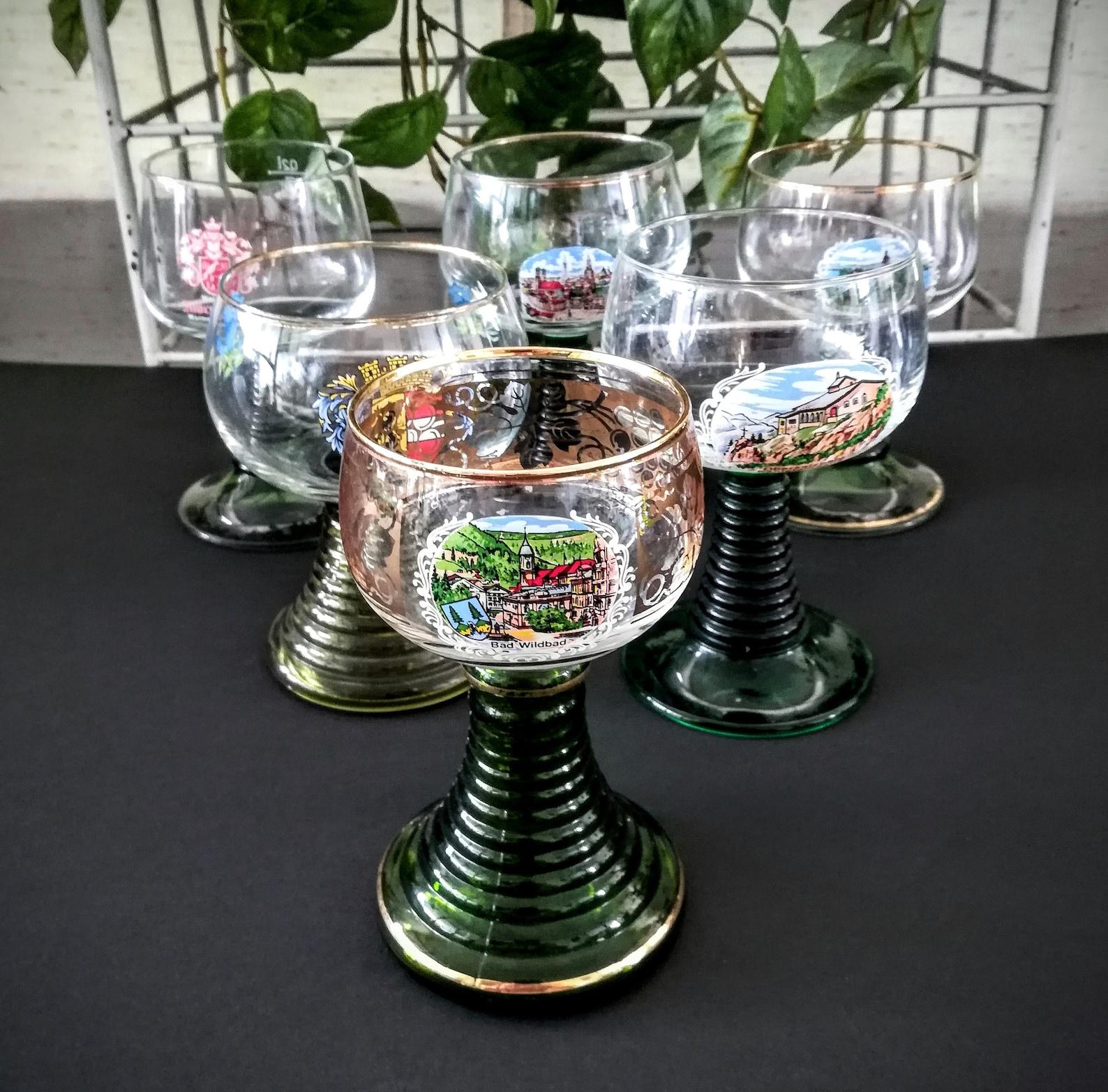 German Roemer gold leaf souvenir wine glasses
