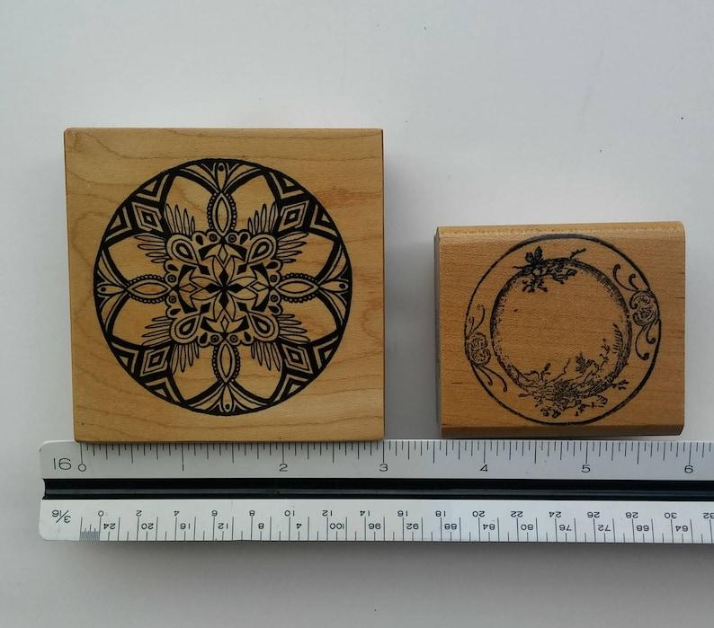 Floral Ink Stamp Wooden Rubber Ink Stamp Inking Crafts