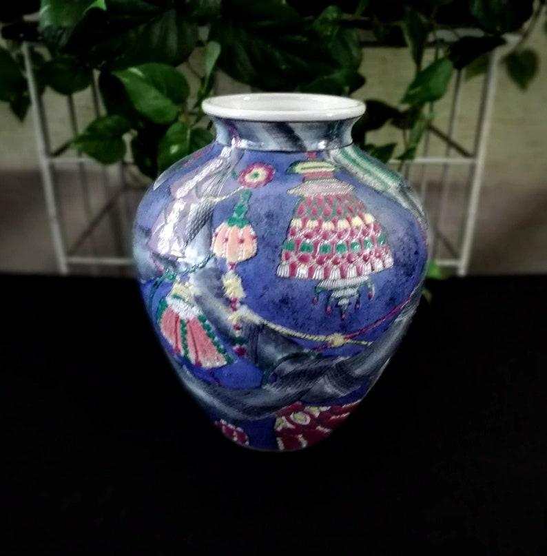Ceramic floor vase ~ Asian abstract vase