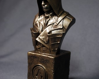 Custom Sculpted Fan Art ARNO ASSASSIN'S CREED Faux Bronze Bust   6.30 inches   16.0 cm