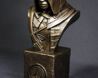 Custom Sculpted ADEWALE ASSASSIN'S CREED Faux Bronze Bust   6.30 inches   16.0 cm